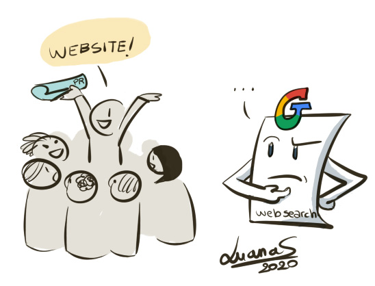Image: cartoon illustration showing human doing PR and attracting interested visitors, while Google wonders how the human did it without web search
