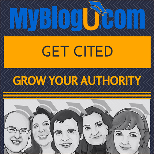 The Get Cited badge for MyBlogU.com