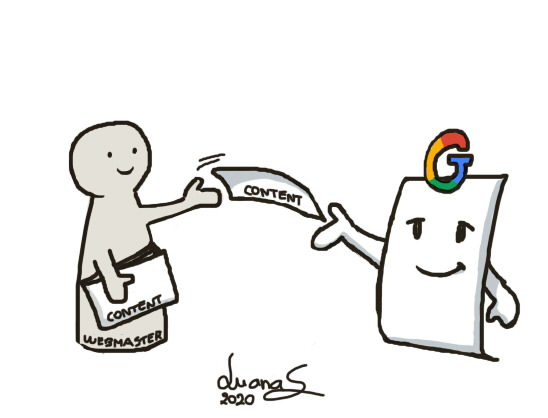 Writing content that ranks, interpreted by Luana Spinetti as a cartoon showing a webmaster handing Google index sheets of paper (content)