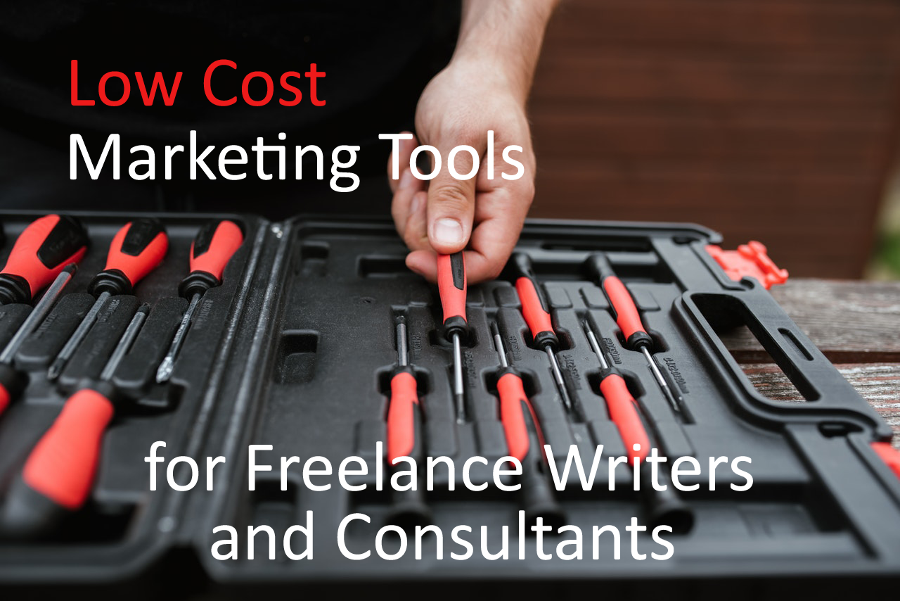 Low cost marketing tools for freelance writers and consultants - Featured image displaying a man taking a screwdriver from a toolbox