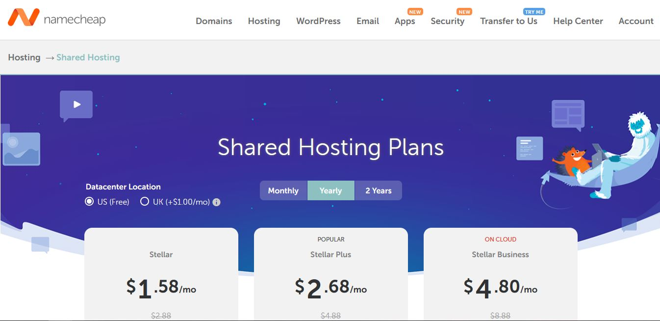 Low cost marketing tools: Namecheap Shared Hosting