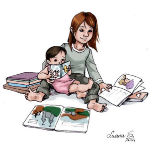 "Image: ""Books and Young Readers"" by Luana Spinetti (artwork featuring two small children reading illustrated books)"